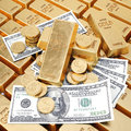 Gold bars gold coins and paper money Royalty Free Stock Photos