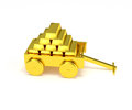 Gold bars in a golden cart isolated vehicle carrying heavy bar stacked up like pyramid good metaphor for wealth storage trading Stock Images