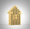 Gold bars house Royalty Free Stock Image