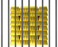 Gold bars locked behind strong bar isolated secure vault displaying stacks of golden safely protected inside Stock Images