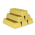 Gold bars render on a white background Royalty Free Stock Photos