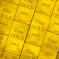 Gold bars stack of fine Royalty Free Stock Photography
