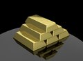 Gold bars stack of isolated on black background Royalty Free Stock Image