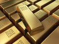 Gold bars stacking d render depth of field Royalty Free Stock Photos