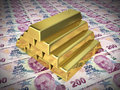 Gold bars on two hundred tl d render close up Royalty Free Stock Photography