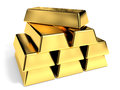 Gold bars on white background d illustration Stock Photo