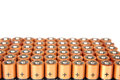 Gold batteries in rows with silver tops close up Stock Photo