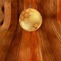 Gold bauble on rustic background.  + EPS8 Royalty Free Stock Photos