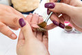 gold Beauty nails construction whit gel Royalty Free Stock Photo