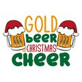 Gold beer and Christmas cheer - funny text , with Santa`s cap on beer mugs. Royalty Free Stock Photo
