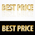 Gold best price signs vector on black and white background Stock Photography