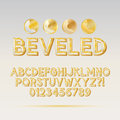 Gold beveled outline font and digit eps vector editable for any background Stock Photography