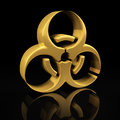 Gold biohazard on black symbol a background with reflection Stock Photo