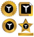 Gold and Black - Caduceus Royalty Free Stock Photo