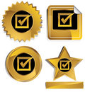 Gold and Black - Check Mark Royalty Free Stock Photo