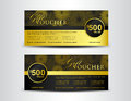 Gold and black Gift Voucher template, coupon design,ticket, bann Royalty Free Stock Photo