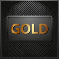 Gold black panel with the inscription Royalty Free Stock Photo