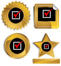 Gold and Black - Red Check Mark Royalty Free Stock Images