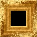 Gold blank square wide frame with natural structure - pattern texture Royalty Free Stock Photo