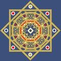 Gold blue ceramic tile