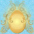 Gold blue easter frame big gold egg vintage birds vector eps Royalty Free Stock Images