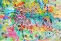 Gold blue pink waxy muddy spots, vivid watercolor paint, colorful hues Royalty Free Stock Photo