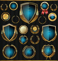 Gold and blue shields laurels and medals collection golden retro Royalty Free Stock Image