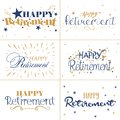 Gold and blue typography design of Happy Retirement text
