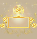 Gold border background for decoration add letter in Stock Photos