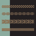 Gold border set ornamental chains of seamless borders Stock Images