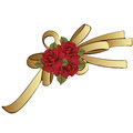 Gold bow with red flowers roses. Painted decorative element, hand-drawing, cartoon detail. Vector illustration Royalty Free Stock Photo