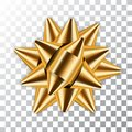 Gold bow ribbon 3d decor element package. Shiny golden satin decoration gift present, holiday design, isolated white