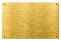 Gold or brass metal plate with rivets isolated Royalty Free Stock Photo