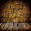 Gold brick and wood interior Royalty Free Stock Image