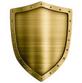 Gold or bronze metal medieval shield isolated on Royalty Free Stock Photo