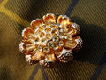 Gold Brooch with Rhinestones Stock Photos