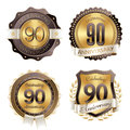 Gold and Brown Anniversary Badges 90th Years Celebration