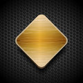 Gold brushed panel on black mesh background metal a Royalty Free Stock Images