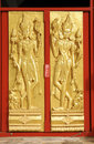 A Gold Buddha Door in Thailand Royalty Free Stock Images