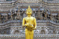 Gold buddha image stand infront of temple wall Stock Images