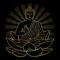 Gold Buddha sitting on Lotus with beam of light