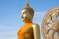 Gold buddha statue in thai temple with clear sky wat muang ang thong thailand at province Royalty Free Stock Photo
