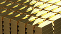 Gold bullion ordered in the bank d rendering Stock Image
