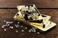 Gold bullions with diamonds Royalty Free Stock Photo