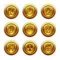 Gold button web icons, set 15 Stock Images