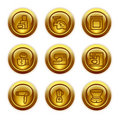 Gold button web icons, set 19 Stock Photo