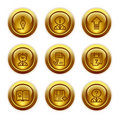 Gold button web icons, set 2 Royalty Free Stock Photos
