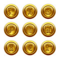 Gold button web icons, set 25 Stock Image