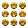 Gold button web icons, set 26 Royalty Free Stock Photo