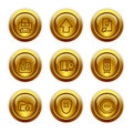 Gold button web icons, set 4 Stock Image
